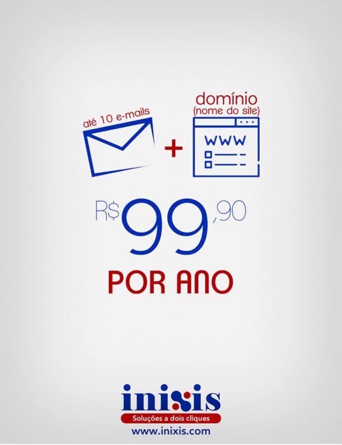 Domínio (nome do site) e e-mails por apenas R$ 99,90/ano