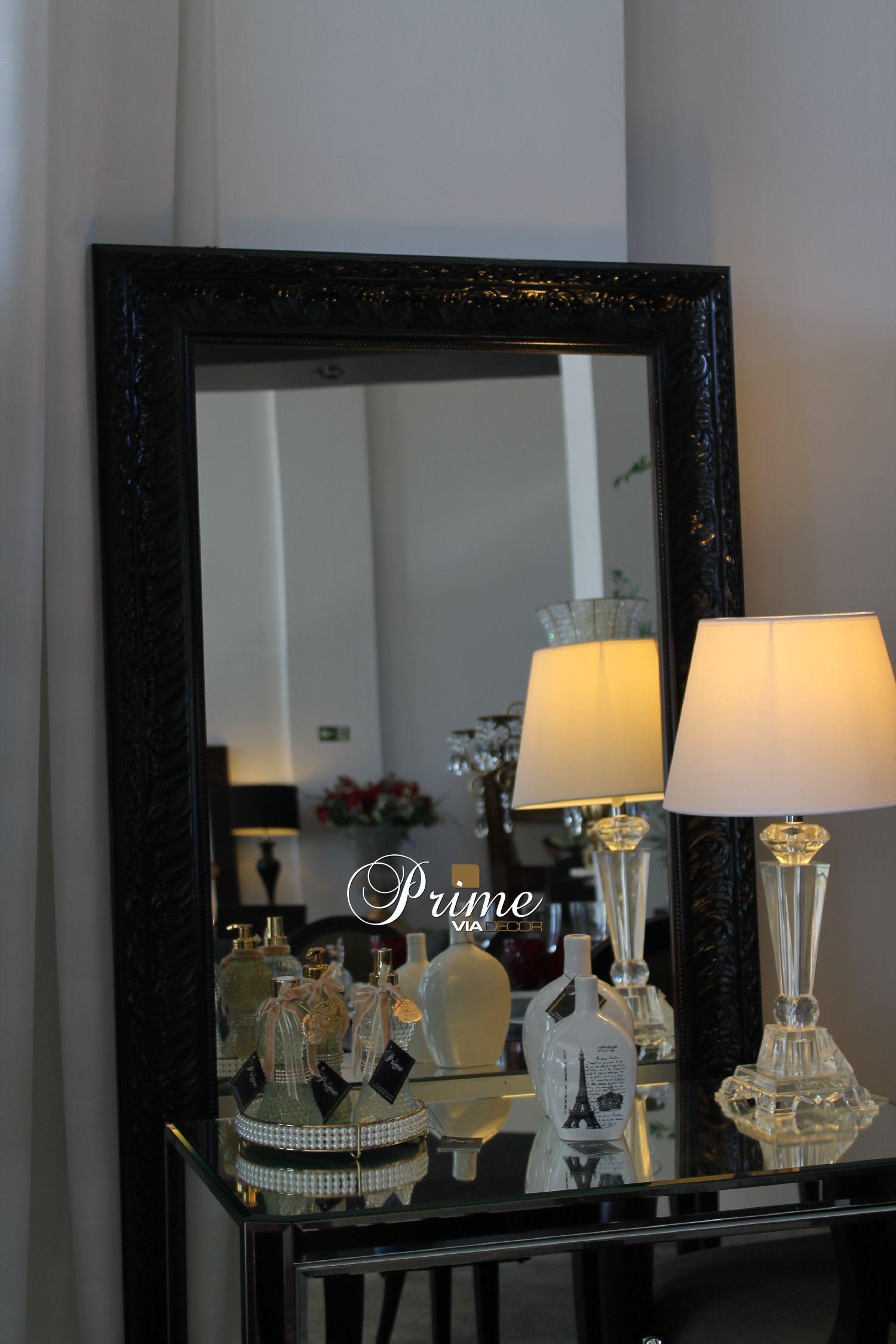 Espelho moldura preta classica laca brilho sem bizotê