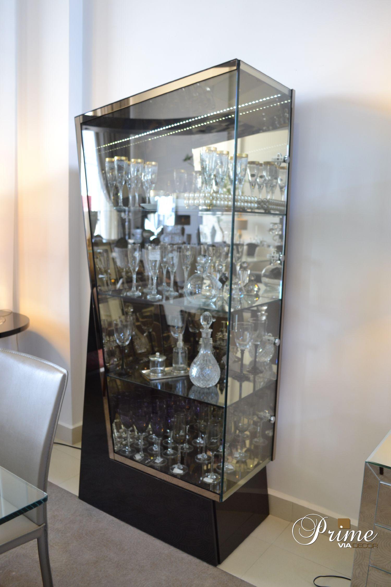 Cristaleira com espelho bronze